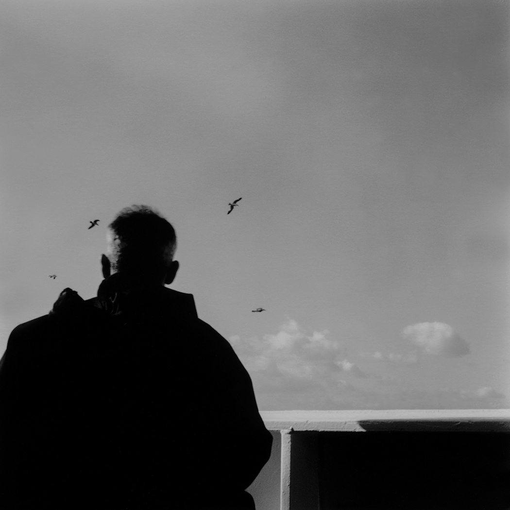 vecchio che osserva volo di uccelli in un tratto di mare al largo di Cagliari