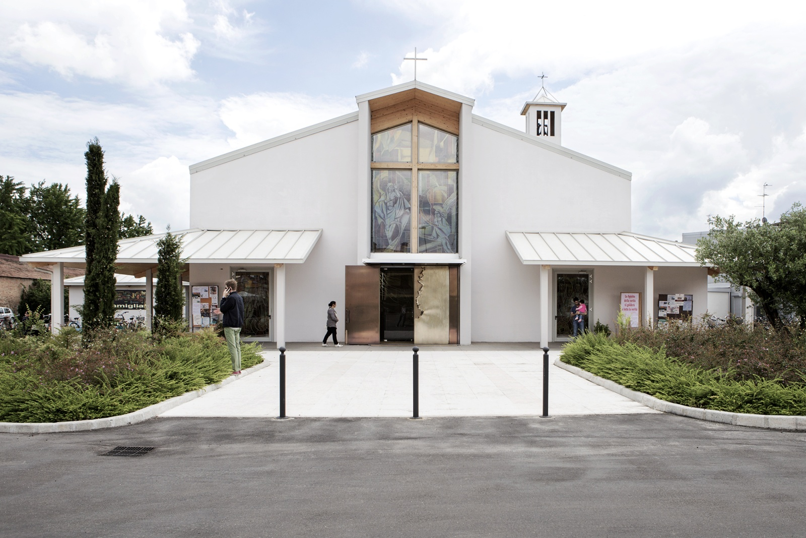 """San Felice sul Panaro, Emilia Romagna Region, Italy, May 2015 - """"Chiesa Nuova"""" in San Felice sul Panaro is the new anti-seismic church of the town. It was built entirely in wood, using x-lam panels and lamellar beams. Finally, the internal walls were covered with plasterboard."""