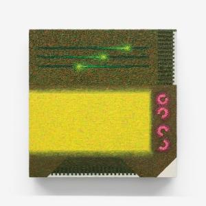 Dispositivo tecno-percettivo, 2015, olio su tavola, 30 x 30 x 3 cm
